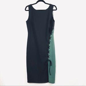Belle Sky Women's Black Green Corset Midi Dress